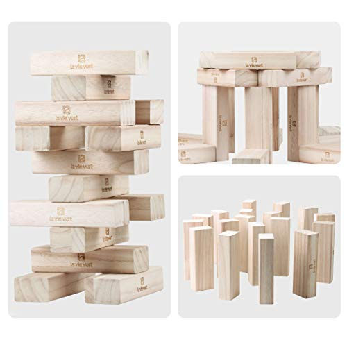 Lavievert Giant Toppling Timbers Wooden Blocks Game Stacking Blocks Amazing Lawn Game With Wooden Blocks