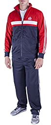 Vertical Sport Men\'s 2 Piece Jacket Pants Track Suit JS14 (Medium, Navy/Red/White)