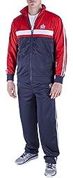 Vertical Sport Men\'s 2 Piece Jacket Pants Track Suit JS14 (Medium, Navy/Red/White)