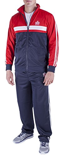Vertical Sport Men's 2 Piece Jacket Pants Track Suit JS14 (Medium, Navy/Red/White) by Vertical Sport