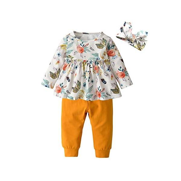 Kerrian Online Fashions 41zg9Nu5bCL 3PCS Baby Girl Clothes Ruffle Floral Shirt Tops Pants Headband Outfit Sets
