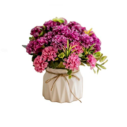 (Riverbyland Artificial Ceramic Potted Hydrangea Flower for Home Decoration Rose Red)
