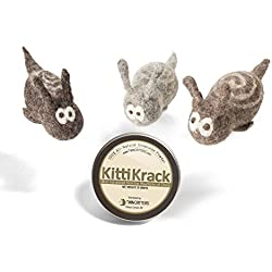 KittiTrails: Refillable Organic Silver Vine Catnip Toy 3-pack For Cats & Kittens By Twin Critters | 100%, All-Natural Wool Snails | Includes Silvervine Powder (15 grams) | No Artificial Ingredients