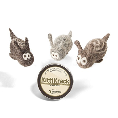 Twin Critters KittiTrails: Refillable Organic Silver Vine Catnip Toy 3-Pack Cats & Kittens 100%, All-Natural Wool Snails | Includes Silvervine Powder (15 Grams) | No Artificial Ingredients by Twin Critters