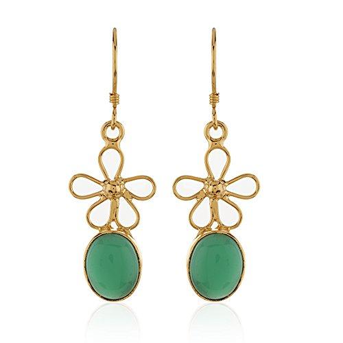 Green Onyx Earrings (18K Gold-Plated Flower and Oval Shape Green Onyx Gemstone Dangle Earrings)