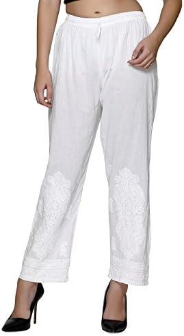 3598ffd4404039 indiankala4u Women's Cotton Palazzo Pants Trousers Leggings Salwar  Chikankari Hand Embroidered (Pristine White, Small