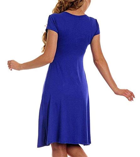 Di Estivo Tinta Festa Abito Trendy Maternità Scollo A Unita Vestito V Ragazza Eleganti Donna Da Cocktail Blu Corta Chic Abiti Manica f7gyb6