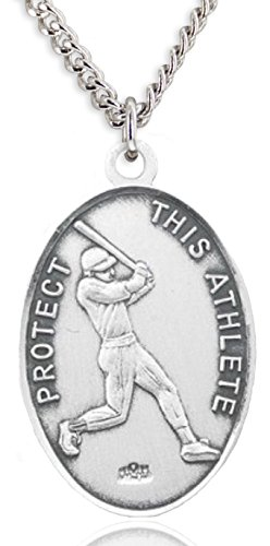 Heartland Store Men's Sterling Silver Oval Saint Christopher Baseball Medal + 24 Inch Sterling Silver Chain & Clasp
