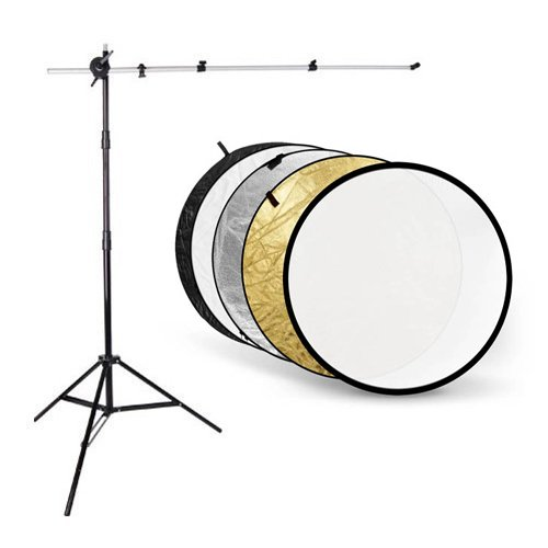 CowboyStudio Photography Reflector Disc Kit with Holder Arm, Light Stand and 32 inch 5-in-1 Collapsable Reflector Gold/Silver/White/Black/Translucent Cowboy Studio 5in1 (32in)+cholding arm+803