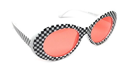 WebDeals - Oval Round Retro Sunglasses Color Tint or Smoke Lenses Clout Goggles (Checkerboard, Red)