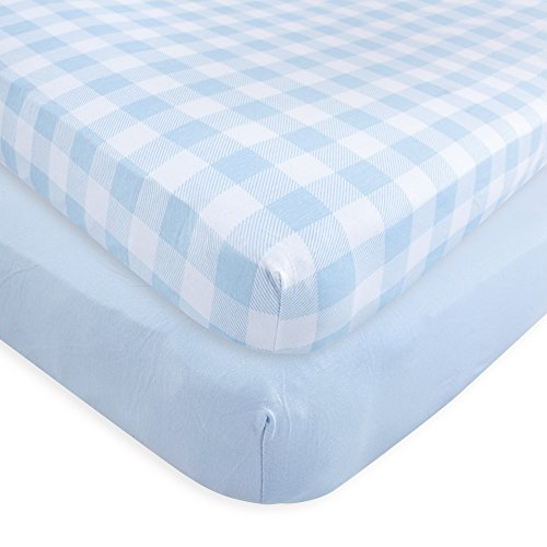 Touched by Nature Organic Fitted Crib Sheets, 2 Pack, Blue Plaid, One - Organic Blue Sheet Crib
