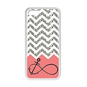 Iphone 5C Case Pink Infinity with Anchor Grey White Chevron Beautiful Luxury Cover Case Plastic For Iphone 5C By @ALL