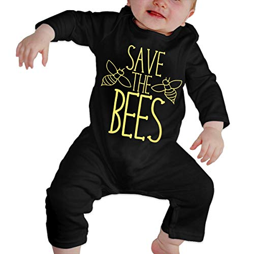Crazy Popo Girl's Boy's Save-The-Bees Long Sleeve Romper Bodysuit Playsuit Outfits -
