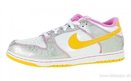 Nike Dunk Low (GS) Big Kids White Yellow Sliver Pink 309601-173