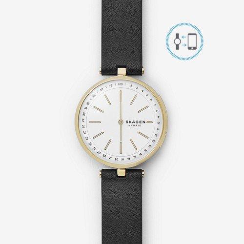 Skagen Women's Hybrid Smartwatch - Signatur T-Bar Black Leather SKT1402 -
