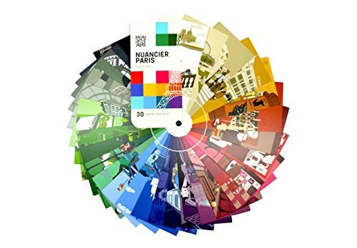 Set of 30 Colourful Scribbing Paris Postcards Presented as a Colour Chart (Color Postcards Chart)