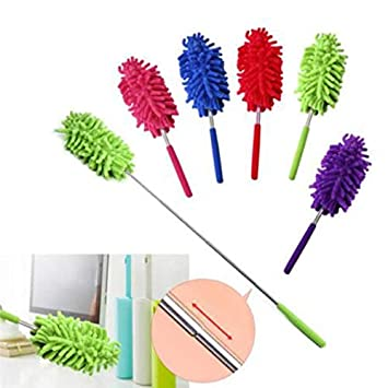 KitchenSet Feather Microfiber Duster Magic Dust Cleaner Fit Cleaning Brush  with Extendable Telescopic Wall Hanging Handle (Medium, Multicolour):  Amazon.in: Home Improvement