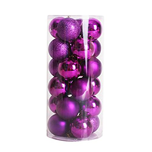 24pcs Small Christmas Ball 3cm Ornaments Shatterproof Christmas Decorations Tree Balls Multicolor Pastel Tree Ornaments Pendant (1.18 inch 24pcs Purple)