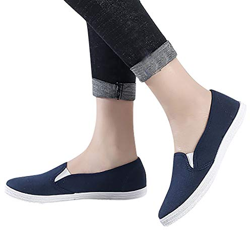 (Cenglings Women's Loafers, Ladies Casual Round Toe Fat Comfortable Canvas Shoes Slip On Office Work Shoes Flat Loafers Dark Blue)