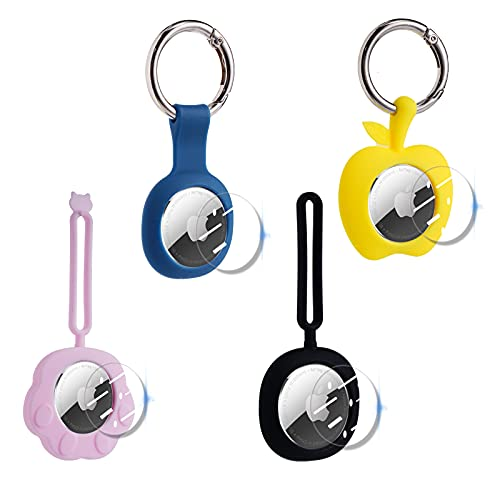 Airtag Case Airtag Holder (2021 New) 4 Pack Silicone Rugged Not Pop Out Apple Airatg Keychain with 4pcs Sticker - Use on Dog Cat Collar Key Ring Luggage Kids Compatible for Airtags
