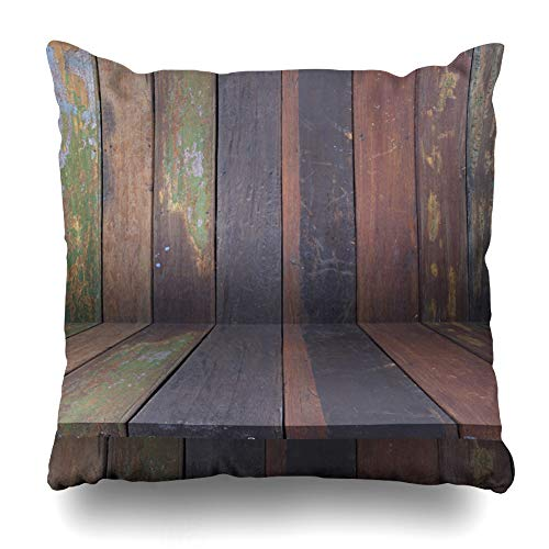 Suesoso Decorative Pillows Case 18 X 18 Inch Wood Shelves Wall Wood Mockup Rustic Backdrop Board Business Desk Floor Throw Pillowcover Cushion Decorative Home Decor Garden Sofa Bed Car