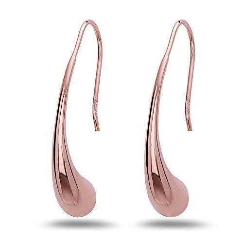 Sterling Silver Teardrop Thread Drop Earrings - 100% Hypoallergenic & Allergy Free Jewelry (Rose Gold)