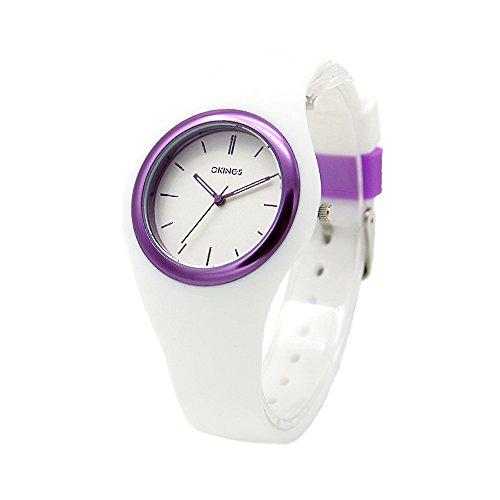 OKINGS Kids Watch Women Girls Teen Watch Japanese Analog Quartz Sports Children Waterproof Watch Silicone Rubber Band Watch Gift(Purple)