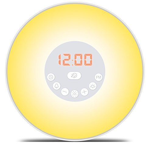 Wake Up Light Alarm Clock - 7 Colors Light - Sunrise Simulation with Night Light, Nature Sounds, FM Radio, USB Cable, Touch Control - 100% Life Time Guarantee