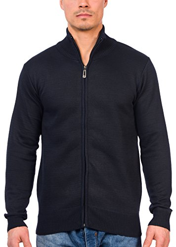 TR Fashion Men's Long Sleeve Soft Casual Full Front Zip Cardigan Sweater (Navy, Small)