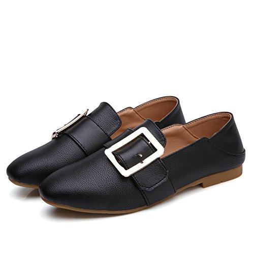 KPHY KPHY KPHY Feliz Zapatos Mujeres Boca Superficial Pisotear Lazy Zapatos Hebilla Cuadrada Fondo Plano Solo Zapatos Ingles Small Leather Zapatos.Treinta Y Nueve Black ef7e20