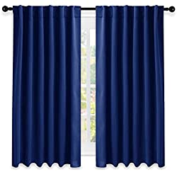 """NICETOWN Blackout Draperies Curtains Window Drapes - (Royal Navy Blue Color) 52"""" W by 63"""" L, Set of 2, Blackout Curtain Panels for Nursery"""