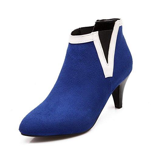 AllhqFashion Mujeres Tacón de aguja Tobillo Dos tonos Sin cordones Botas Azul