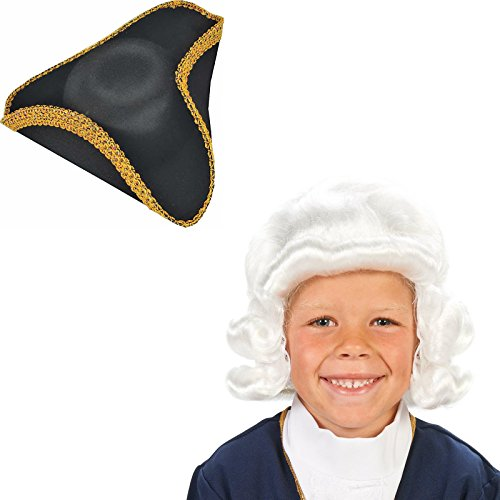 White Colonial Child Wig and Tricorn Hat