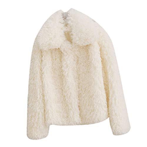 Goyfeelip Fausse Fourrure Manches Longues Manteau Femmes Hiver pais Revers Solide Lache Outwear (Color : White, Size : 3XL)