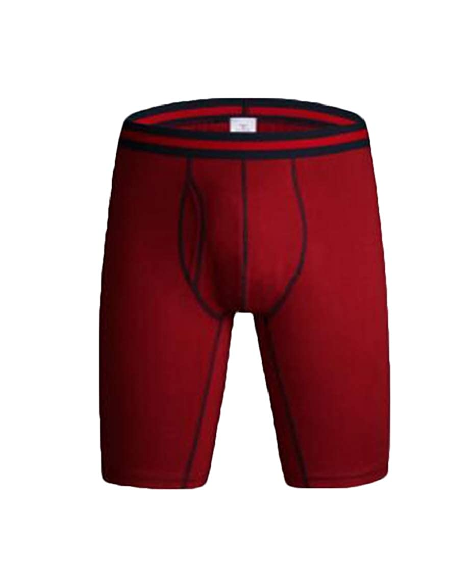 Gnao Mens Athletic Cotton Cycling Solid Color Stretchable Boxer Briefs