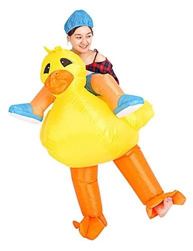 Inflatable Costume Duck Rubber (Gameyly Inflatable Adult Animal Rider Halloween Costumes Fancy Dress Party Outfit Yellow)