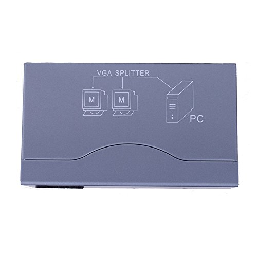 DTECH 2 Way Powered VGA Splitter Amplifier Box High Resolution 1080p SVGA Video 1 in 2 out 250 Mhz for 1 PC to Dual Monitor Computer by DTech (Image #3)