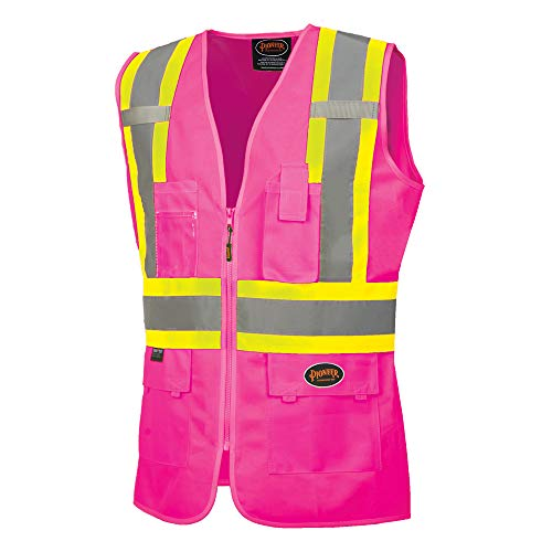 Pioneer Safety Vest for Women - Hi Vis Reflective Neon - Fitted Mesh, Zipper, 9 Pockets - Traffic, Security, Volunteer Work - Pink, Orange, Yellow/Green (Pink Womens Safety Vest)