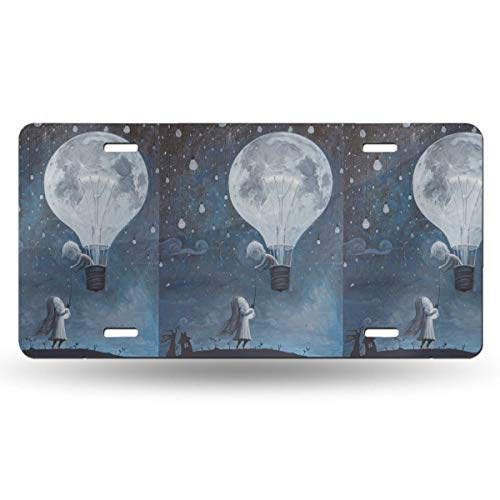 TPSXXY-LP Beloved Hot Air Balloon Moon Novelty Car 6x12 Aluminum Front Vehicle License Plate Frame Vanity Tag Sign