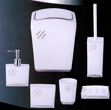 6 Tlg Bad Badezimmer Set Seifenspender Kosmetikeimer Kloburste