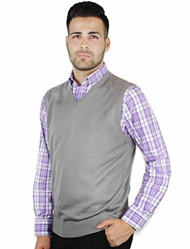 Blue Ocean Solid Color Sweater Vest Grey XXX-Large