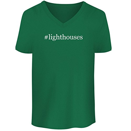 BH Cool Designs #Lighthouses - Men's V Neck Graphic Tee, Green, Large (Ornament Harbour Lights)