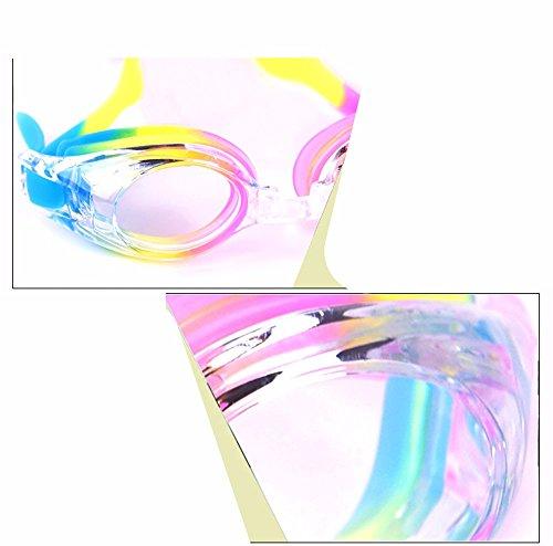 LXKMTYJ Lunettes De Natation Pour Enfants Sept Couleurs Imperméable Anti-Buée Filles Garçons Générale Natation Lunettes Miroir Plat Couleur