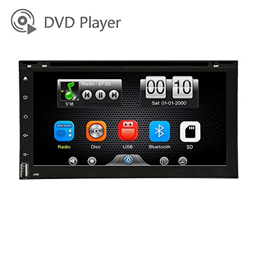LEXXSON Car DVD CD Player Capacitve Touch Screen MP3 WMA Player Car Stereo Radio Hands Free Music Streaming USB/SD Micphone Phone Mirror Link Steering Wheel Control DH2062-P
