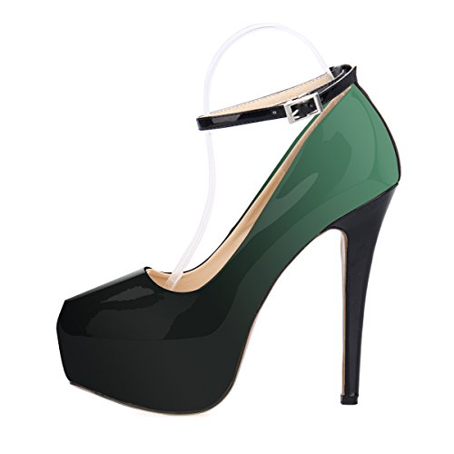 ZriEy Women's Sexy Noble Platform Pumps Ankle Strap Stiletto High Heels for Party Wedding Dancing Shoes Double Color Green size 7.5