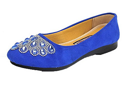 Suede Pull Solid Imitated On Shoes Pumps Low Round Women's Blue Heels Toe WeiPoot zqI45wy
