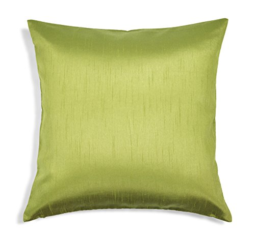 Aiking Home Solid Faux Silk Euro Sham/Pillow Cover, Zipper Closure, 26 by 26 Inches, Green