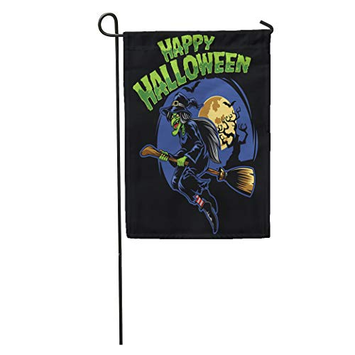 Semtomn Garden Flag Candy Halloween Witch and Flying Broom Cartoon Celebration Character Cheerful Home Yard Decor Barnner Outdoor Stand 12x18 Inches Flag