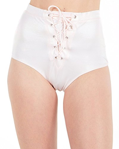 iHeartRaves Pink Lace up Holographic Shimmer High Waisted Bottoms -
