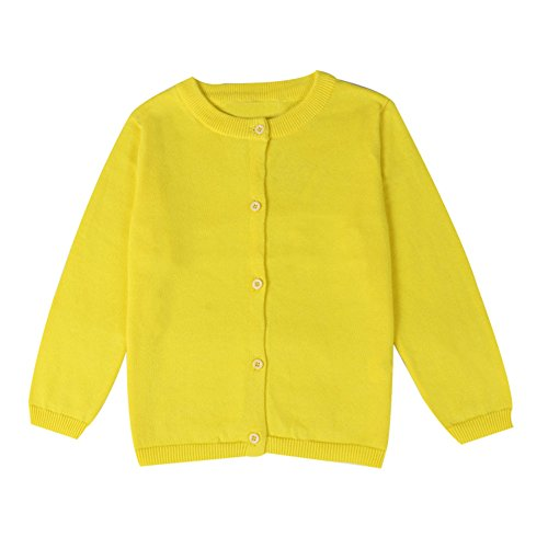LOSORN ZPY Baby Boys Girls Button-Down Cardigan Toddler Cotton Knit Sweater Yellow (Yellow Kids Sweater)